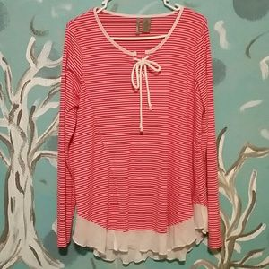 New directions XL red striped long sleeve top